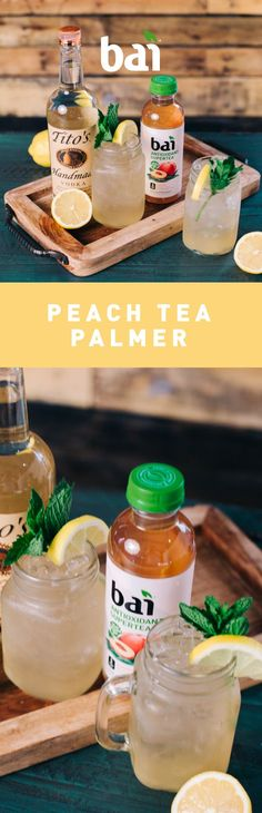 Slip into a Southern state of mind with this Peach Tea Palmer. Featuring Bai Narino Peach Tea, a refreshing pick-me-up with only 5 calories, 1 gram of sugar and no artificial sweeteners. Please drink responsibly. Must be 21 . Cocktails, Party Drinks, Fun Drinks, Cocktail Recipes, Beverages, Alcoholic Drinks, Cheers, Fat Loss Diet, Summer Drinks