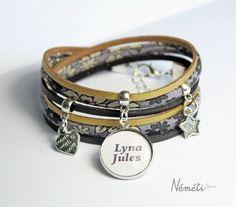 Bracelet médaille prénom ou message personnalisé -  bracelet liberty gris tissu…