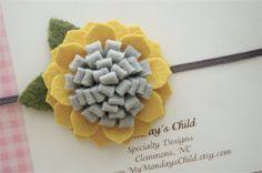 Felt Flower Headband in Mustard and Gray  Felt by MyMondaysChild, $7.95