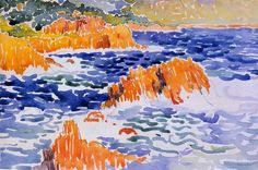 Rocks at Trayas, 1902 by Henri-Edmond Cross. Post-Impressionism. landscape