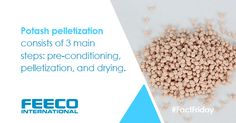 Potash pelletization consists of 3 main steps: pre-conditioning, pelletization and drying. #potash #agglomeration #pelletization #pelletize #pelletizing #industrialdrying #preconditioning