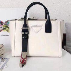 56bba6f790 Prada Concept Leather Handbag 1BA175 White 2018  Pradahandbags Prada  Handbags