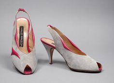 1985, France - Pair of Woman's Sling-Back Pumps by Maud Frizon - Leather, suede
