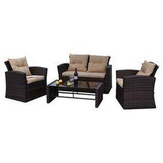 Found it at Wayfair - Roatan 4 Piece Deep Seating Group in Dark Brown with Cushions Wicker Couch, Wicker Headboard, Wicker Shelf, Wicker Bedroom, Wicker Table, Wicker Furniture, A Table, Wicker Dresser, Wicker Trunk