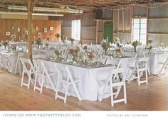 long tables and wooden chairs