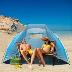 Beach Tent Sun Shelter Cabana Sunshade Outdoor Portable EasyUp Blue Pool Camping for sale online Camping And Hiking, Tent Camping, Camping Hacks, Beach Cabana, Beach Tent, Outdoor Gadgets, Blue Pool, The Great Outdoors, Outdoor