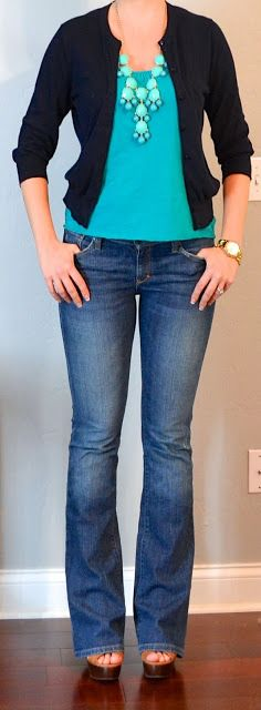 "Outfit Posts - Navy cardigan - J.Crew Outlet Teal tank - Old Navy Bootcut jeans - Abercrombie Brown ""Lambert"" Wedges - ShoeMint Teal bubble necklace - eBay"