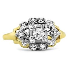 """The stunning Famke Art Deco diamond Ring - circa 1920s - displaying the classic """"circle meets square"""" characteristics of Art Deco designs, at Brilliant Earth for $2,085!"""