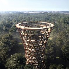 Architecture studio EFFEKT has released plans for a 600-metre-long treetop walkway connected to a spiralling observation tower with 360-degree views over the forest canopy of Haslev, Denmark.