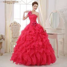 1b837161e13f3 Romantic 2018 Colorful Organza A line Beading Ruched One Shoulder  Quinceanera Dresses Beautiful Party Vestidos-in Quinceanera Dresses from  Weddings   Events ...