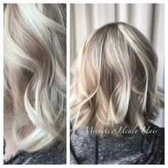 To create this cool toned blonde we mixed pale blonde highlights with dark blonde lowlights.