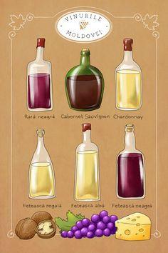 Wines of Moldova. Wine postcard. Grape variety. by MonstrCard