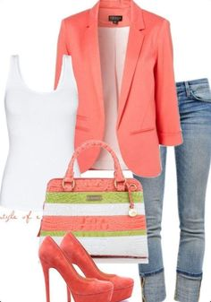 so cute and springy! coral, green, white and get your #coralreef lip color to MATCH! www.myfleurdevie.com