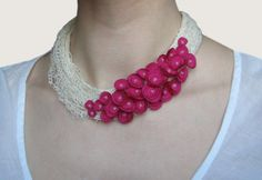 Linen Thread Necklace. Bright Pink Flowers.