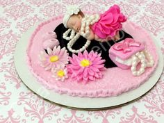 Girls Love Pearls Fondant Baby Cake Topper 6 Inch Base by anafeke, $25.00