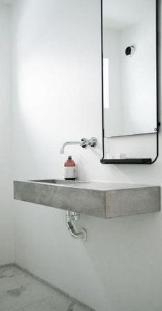 Concrete bathroom vanity l Minimalist bathroom design Small Basement Bathroom, Modern Bathroom Sink, Concrete Bathroom, Bathroom Toilets, Minimalist Bathroom, Minimalist Interior, Minimalist Home, Bathroom Interior, Bathroom Sinks