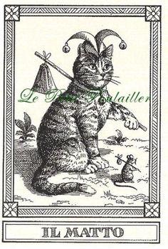 Menegazzi Il Gatti Tarot Feline Fortune Telling Cards 3, 17, 21, Matto