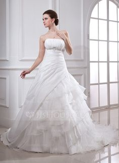 Ball-Gown Strapless Cathedral Train Taffeta Organza Wedding Dress With Beading Appliques Lace Cascading Ruffles (002001224)