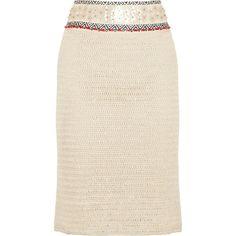 Tory Burch Donovan embellished crochet-knit linen pencil skirt ($495) found on Polyvore