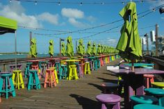 Colorful restaurants in Mallory Square Key West Florida