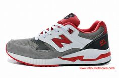 New Balance Womens Grey/Red/White Shoes Clearance Store