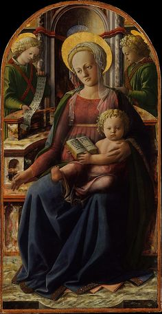 Medieval cloak, dress, veil-type headdress: Madonna and Child Enthroned with Two Angels  Fra Filippo Lippi (Italian, Florence ca. 1406–1469 Spoleto)