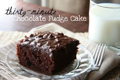 I always love quick and easy desserts! 30-Minute Chocolate Fudge Cake. One bowl, one spoon, thirty little minutes.