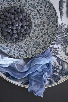 blue plates, blueberries- pretty