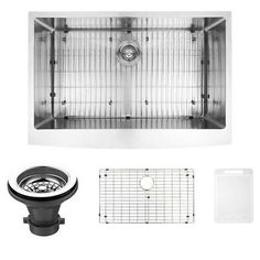 kraus khu100 30. 33-inch Bedford Stainless Steel Farmhouse Kitchen Sink With Grid And Strainer Kraus Khu100 30 S