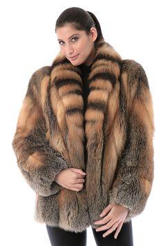 Women's Skyla Natural Cross Fox Fur Jacket by Overland Sheepskin Co. (style 99901)
