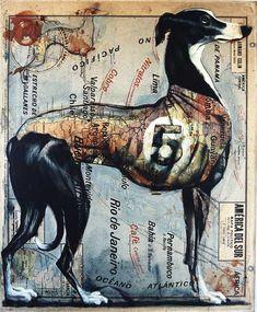 Atlas Art by Fernando Vicente Antique Maps, Vintage Maps, Beautiful Dogs, Beautiful Artwork, Collage Art, Collages, Greyhound Art, Greyhound Rescue, Italian Greyhound