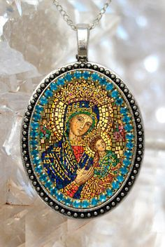 Our Lady of Perpetual Help Handmade Necklace Catholic Christian Religious Jewelry Medal Pendant Our Lady of Perpetual Succour Theotokos Catholic Jewelry, Catholic Art, Religious Art, Catholic Prayers, Roman Catholic, Blessed Mother Mary, Blessed Virgin Mary, True Gift, Byzantine Icons