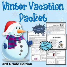 3rd Grade Winter Break Vacation Packet {CCSS Aligned}This Winter Break Vacation Packet (3rd Grade Edition) will keep your third graders sharp during their winter break! More About This Product: This product can be used in small groups, for differentiated instructional purposes, for 1:1 targeted instructional tutorials, or as a whole class for test prep purposes and/or vacation homework.