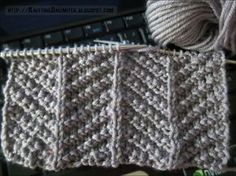 Only knit  and purl stitches are used to make up this herringbone texture knitting stitch and isn't too tricky for beginners, like myself. Knitting instructions: Cast on: multiple of 16 + 1 stitches. Row 1: (right side): (K2, p2) twice,  k1, p2, k2, p2, *k3, p2, k2, p2, k1, p2, k2, p2; rep from * to last 2 stitches, k2 Row 2: P1, *k2, p2, k2, p3, k2, p2, k2, p1; rep from * to end Row 3: K1, *p1, k2, p2, k5, p2, k2, p1, k1, ; rep from * to end Row 4: P3, k2, p2, k1, p1, k1, p2, k2, *p5, k2…