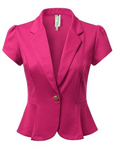 DRESSIS Womens Petal Short Sleeve Slim Fit Blazer Jacket ...