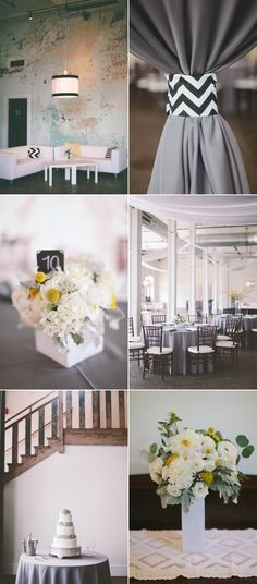 black and white modern wedding reception decor. I like black and white, not so much the chevron pattern though.