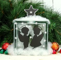 Check out Nicole™ Crafts Angel Glass Block crafting ideas at A. Christmas Angels, Christmas Lights, Christmas Crafts, Christmas Decorations, Christmas Ornaments, Christmas Wood, Christmas Ideas, Xmas, Vinyl Crafts