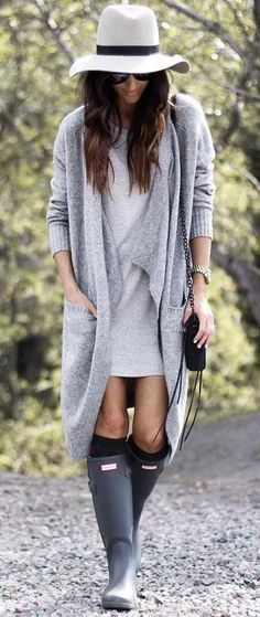 summer outfits Grey Hat + Grey Cardigan + White Dress