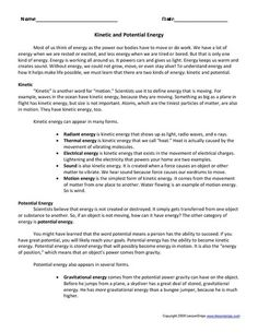 Worksheets Potential And Kinetic Energy Worksheet kinetic energy worksheets and website on pinterest potential worksheet lesson planet