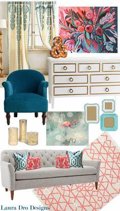 Living Room Design-Indigo, Aqua, Coral