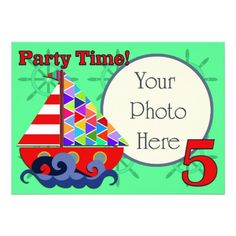 Nautical Sailboat, Birthday Party Invitation Photo card, for a little boy's birthday party! #nauticalinvitations #sailboats #birthdayparties