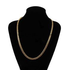 aafd485f6e5 18K Yellow Gold Plated Link Cuban Chain Necklace 18