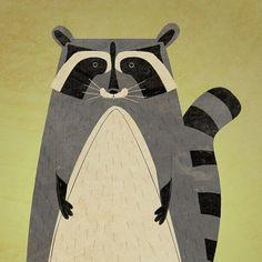 Baby Boys Nursery Art Print The Artful Raccoon by johnwgolden, $20.00