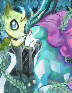 iris-sempi:  FOREVER - Celebi And Suicune  tried out some new techniques- and loved the outcome! You can get it in my Redbubble! REDBUBBLE / PAOM / Deviantart