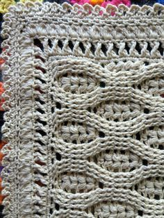 Heirloom Wheat Stitch Baby Blanket - Imgur  What Stitch: http://www.girliescrochet.com/bobble-and-fpdc.html  Border: Around the Corner - Crochet Borders by Edie Eckman (Border #9)