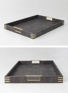 An elegant rectangular tray in a contemporary design finished in designer seal brown shagreen with exclusive brass handles and fittings. The tray can be used as a drinks, serving tray or display tray and looks elegant in both contemporary & traditional interior settings.