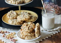 These Salted Peanut Butterscotch Oatmeal Cookies are studded with roasted peanuts, butterscotch chips, and sprinkled with flaky sea salt! These cookies are a must have!! #Recipe from Bakerita.com