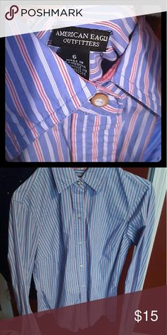 Amercan eagle striped button up Like New button up American Eagle Outfitters Tops Button Down Shirts