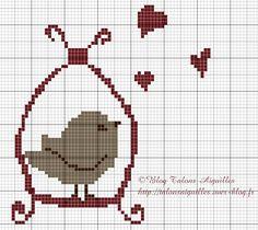 Borduurpatroon vogeltje (kruissteek)                                                                                                                                                      Plus