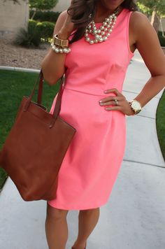 Peach Ponte Knit Dress, Wedge Sandals, Cognac Tote, Gold Jewelry, Pearl Necklace, J.Crew, Madewell, Old Navy 24